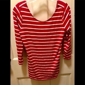 Guess 3/4 sleeve, red & white striped top